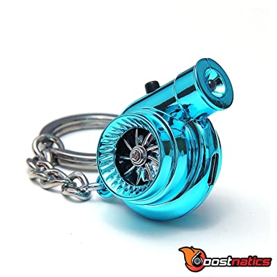 Boostnatics Rechargeable Electric Electronic Turbo Keychain with Sounds + LED! - Blue New Version 5 (V5): Automotive