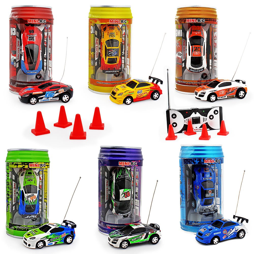 haomsj Mini Coke Can Speed Rc Radio Remote Conrtol Micro Racing Car with Led Lingts Toys Kids Gift