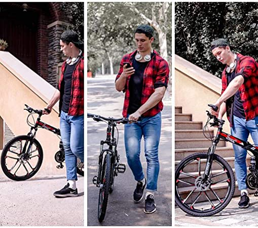 TXTC 21 Bicicletas De Montaña Velocidad, Bicicleta Plegable De Alto Carbón del Marco De Acero, Frenos De Disco, Soporte For Botella De Bici Hombres con Agua For El Presente Adolescentes De Navidad: