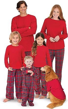 Cuadros Pijamas Navidad Familia Tartán Conjunto Pantalon y Top Fiesta Manga Larga Trajes Navideños Pijama Dos Piezas Mujer Hombre Niños Niña Ropa de ...