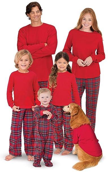 ae6dfb76e0 Cuadros Pijamas Navidad Familia Tartán Conjunto Pantalon y Top Fiesta Manga  Larga Trajes Navideños Pijama Dos Piezas Mujer Hombre Niños Niña Ropa de  Dormir ...