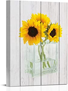 Sunflowers Wooden Board Canvas Wall Art Yellow Flower Wall Decor Golden Floral Prints Framed Botanical Grey Plank Painting Plant Blossom Picture Artwork for Living Room 12×16 Inches