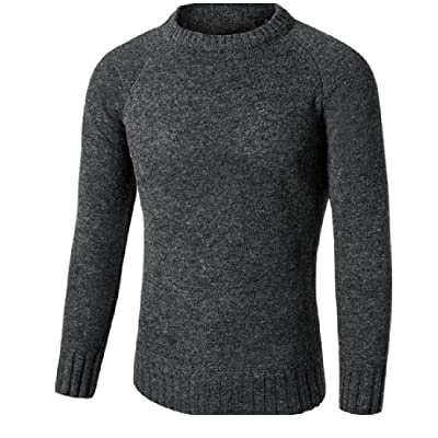 Abetteric Men's Stretch Crewneck Long Sleeve Pullover Sweaters Knitwear