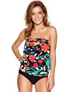 c92aee6ad7e03 M&Co Ladies Swimwear Floral Print Blouson Multiway Strap Full Coverage Tankini  Swim Top