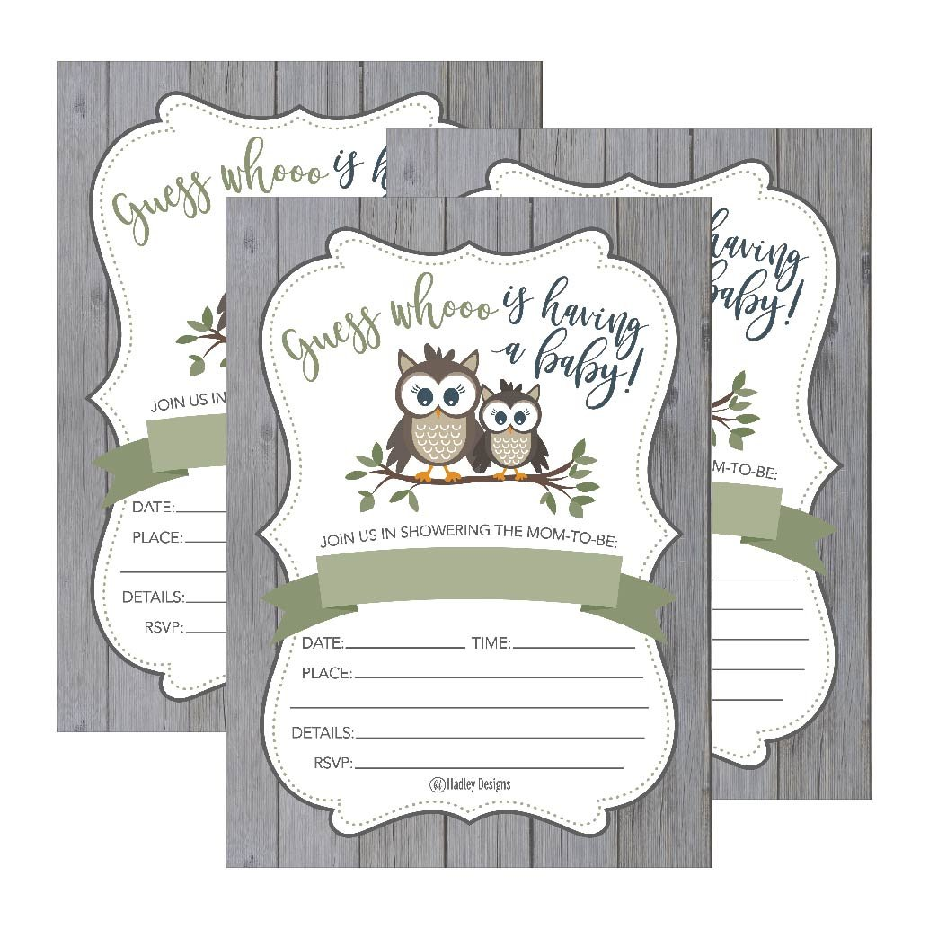 25 Cute Rustic Owl Woodland Forest Baby Shower Invitations, Printed Fill in The Blank Invites for Girls Boys Gender Neutral Grey Unique Vintage Coed Nature Wood Themed Party Card Stock Paper Supplies