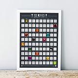 Gift Republic 100películas–Scratch Off Cubo Lista Póster, Negro