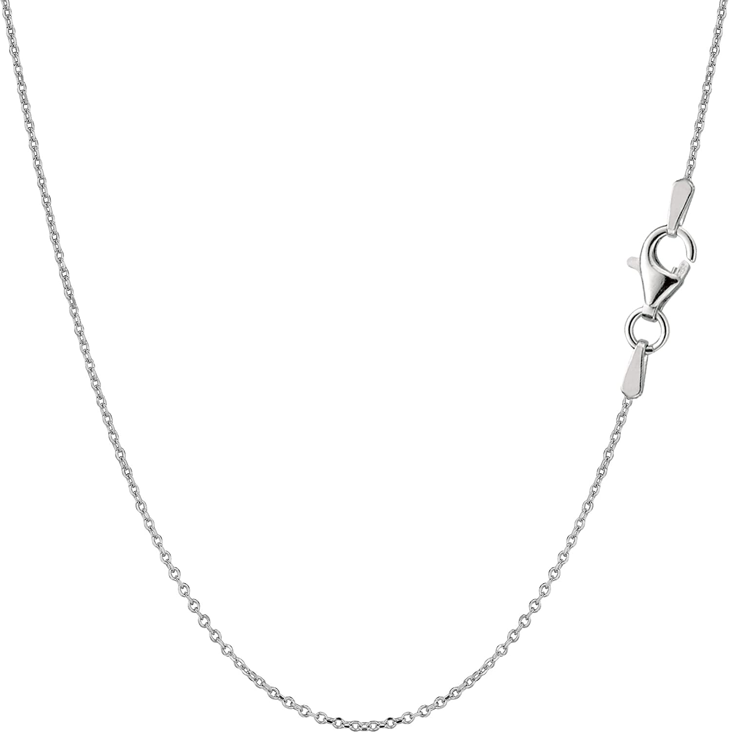 Amazon Com Sterling Silver Rhodium Plated Cable Chain Necklace 0 8mm 16 Chain Necklaces Jewelry