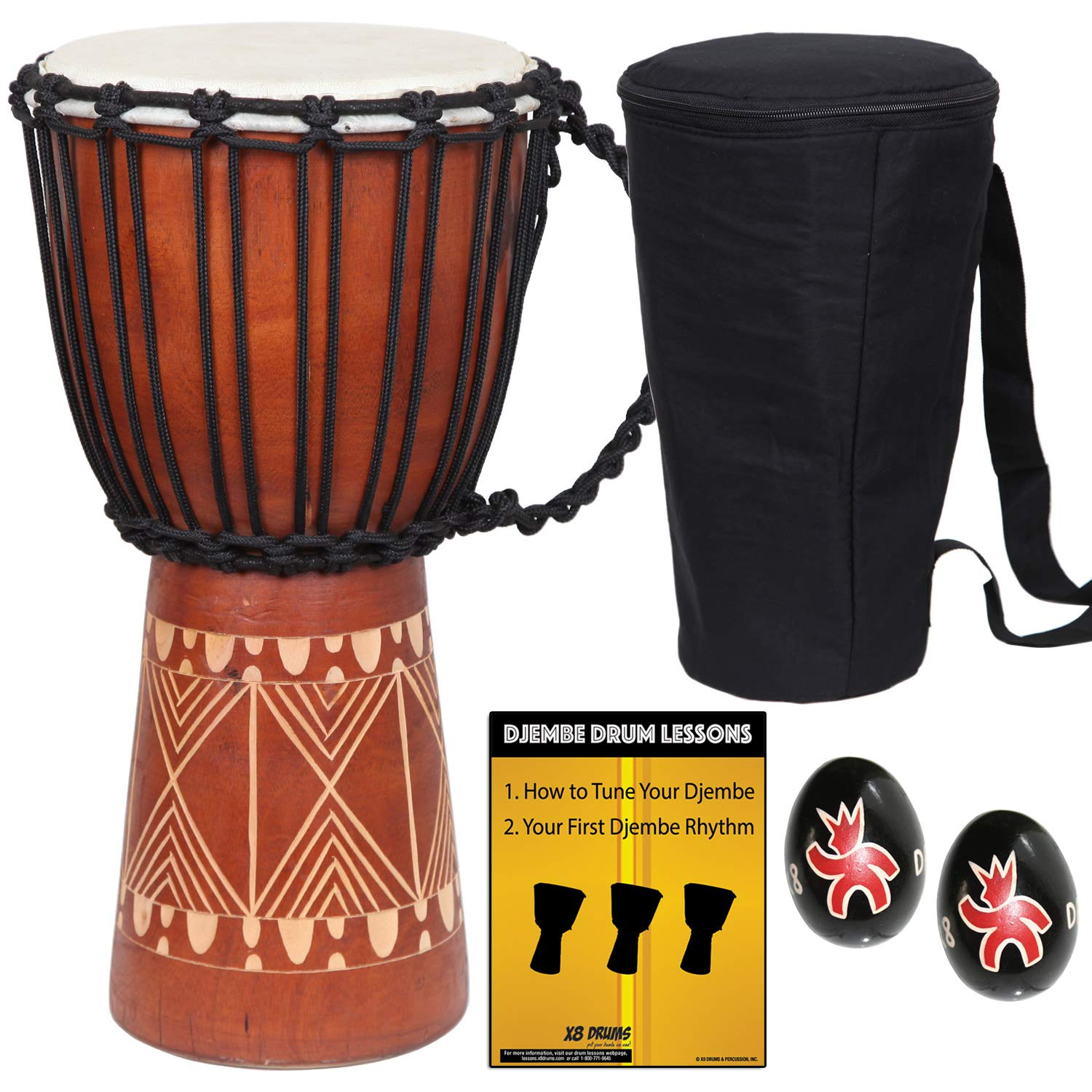 X8 Drums Djembe African Hand Drum inch X8-DJ-GRV-BKP
