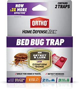 Ortho 0465705 Defense Max Detect and Trap, Use at Home or When Traveling, 1 of a 3-Step Bed Bug Solution System, Pesticide-Free, 2-Pack, Yellow