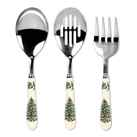 Amazon.com: Spode Christmas Tree 3-Piece Flatware Serving Set ...
