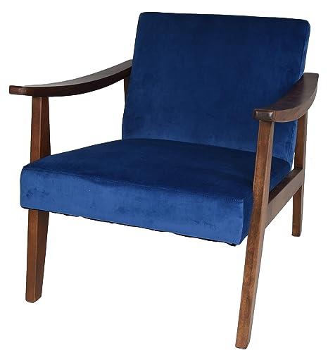 Amazon.com: Zenvida Mid Century - Sillón tapizado de madera ...