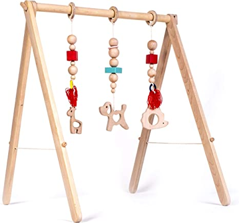UK Baby Play Stand Nursery Hanging Fun Wooden Toys Mobile Wood Rack Activity Gym