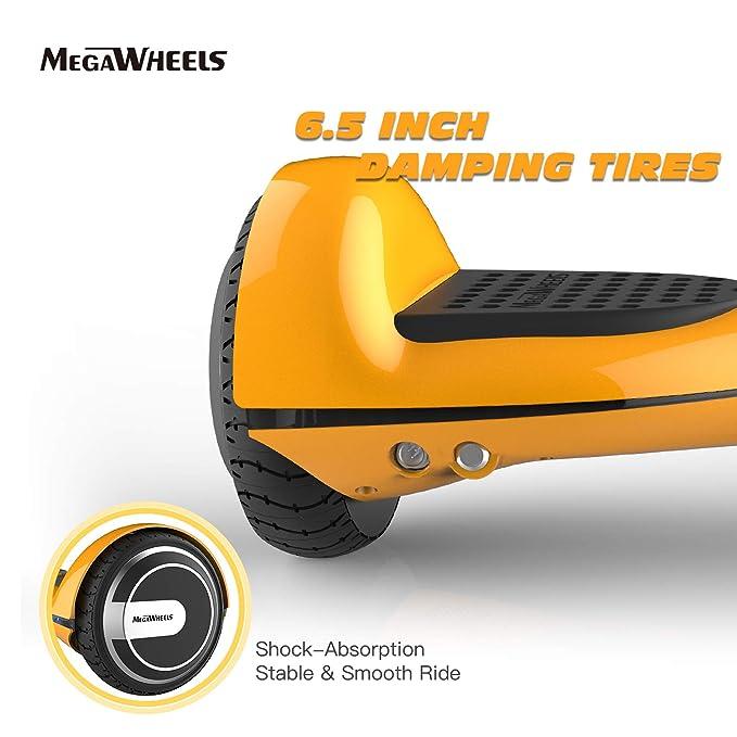 M MEGAWHEELS Scooter-Patinete Eléctrico Hoverboard, 8.5-10 Pulgadas con Bluetooth - Motor eléctrico 600-700w, Velocidad 10-15 Km/h. (Gold)
