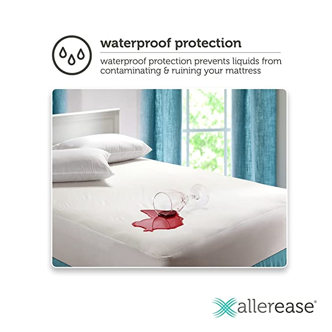 Mainstays Resistente al Agua Vinilo Reina Protector de colchón Ajustable, Color Blanco: Amazon.es: Hogar