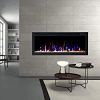 """New Model 42"""" Slim Trim Black Built-in Recessed/Wall Mounted Heater Electric Fireplace"""