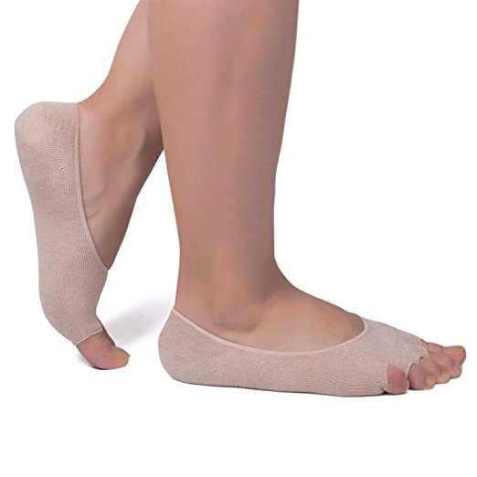 4 Pairs Women s No Show Peep Toe Socks Low Cut Separated Toes Socks Cotton  Non Slip 5fdc182703
