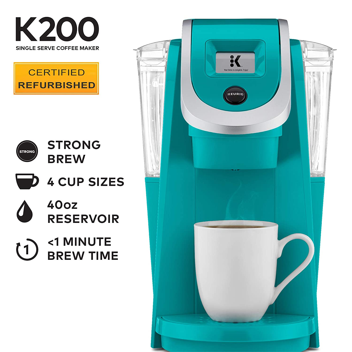Keurig K200 Coffee Maker, Single Serve K-Cup Pod Coffee Brewer, With Strength Control, Tourquise Renewed