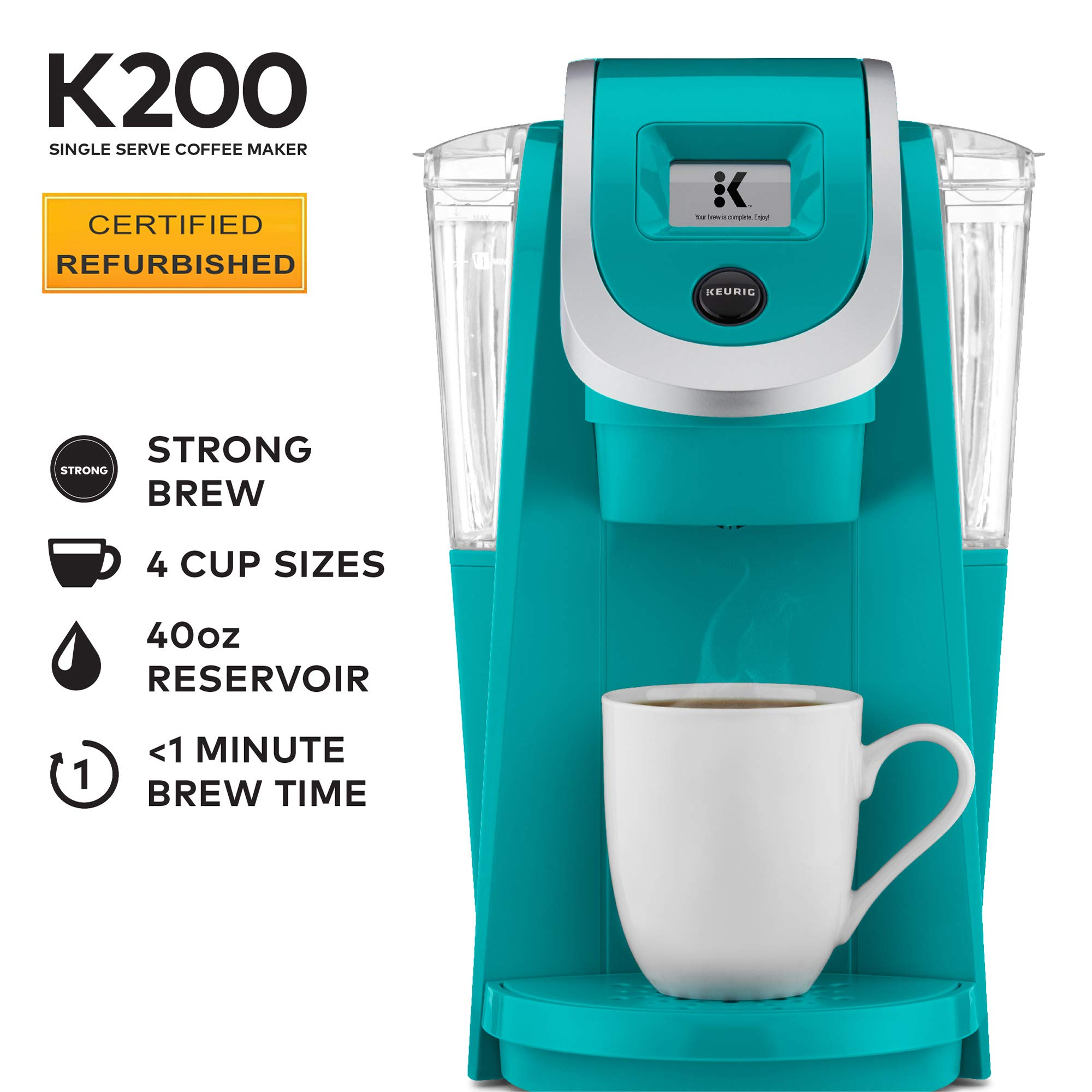 Keurig K200 Certified Refurbished Coffee Maker, Single Serve K-Cup Pod Coffee Brewer, With Strength Control, Tourquise by Keurig
