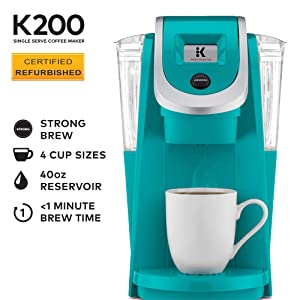 Keurig K200 Certified Refurbished Coffee Maker, Single Serve K-Cup Pod Coffee Brewer, With Strength Control, Tourquise