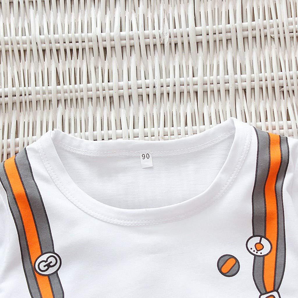 Tronet Summer Outfits Set Childrens Kids Short Sleeve Cartoon Schoolbag Tops T-Shirt+Stripe Shorts Set