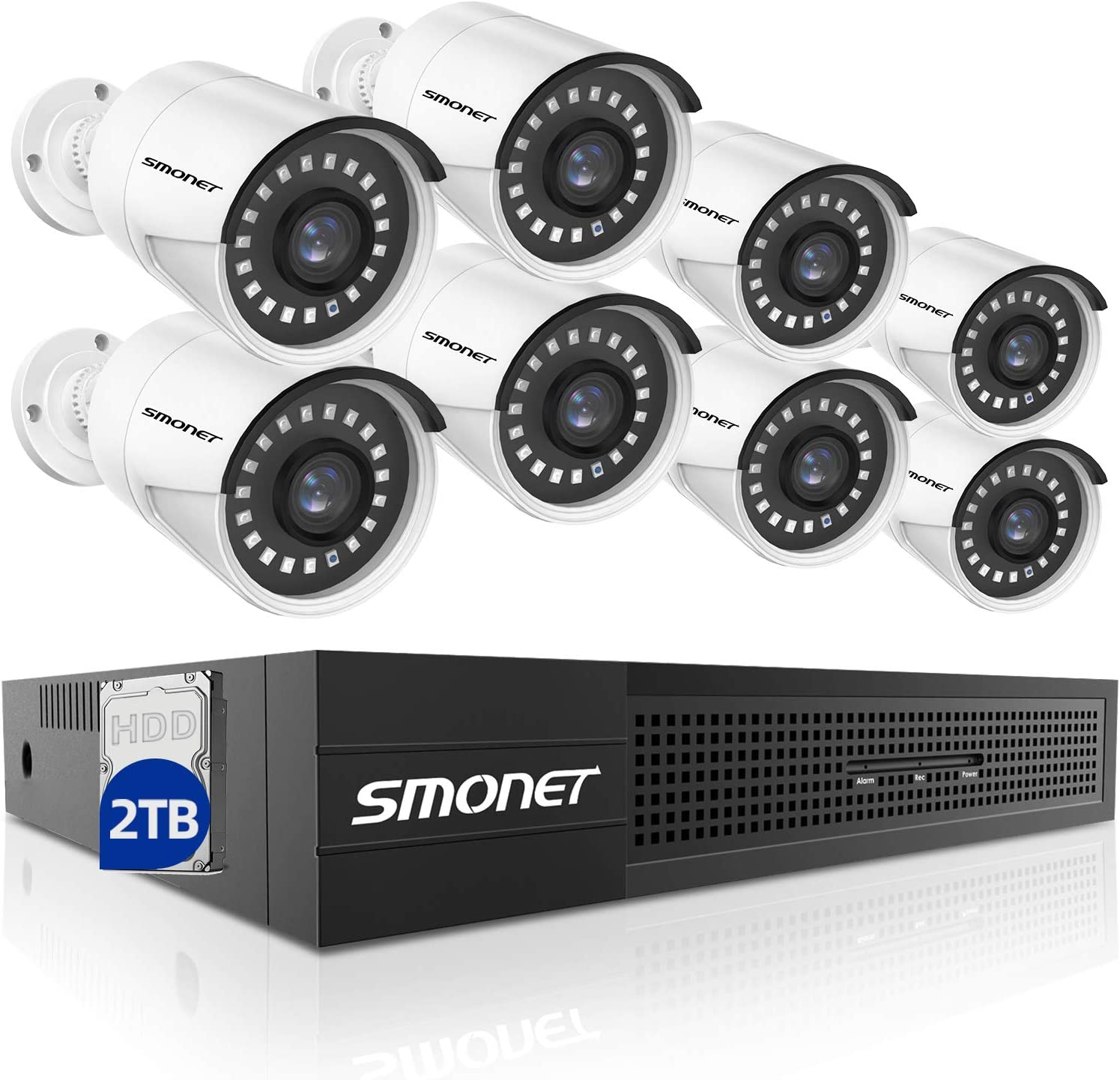 SMONET 5MP PoE Home Security Camera System,8CH NVR Video Security System(2TB Surveillance Hard Drive),8x 5MP (2560TVL) Outdoor Indoor IP Cameras,Power over Ethernet,Free APP,P2P,24/7 Recording