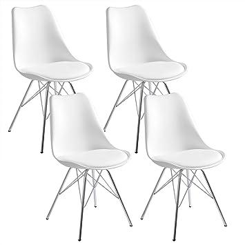 Verchromtem Küchenstuhl 4 Aus Woltu® Mit Sitzfläche Set Esszimmerstuhl 4er Polsterstuhl Stahl Design KunstlederGestell Stuhl X Esszimmerstühle cKJlF1