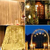 Window Curtain Lights 300 LED, 8 Lighting Modes Remote Control, Decoration for Christmas Bedroom Wall Party Indoor Outdoor (C