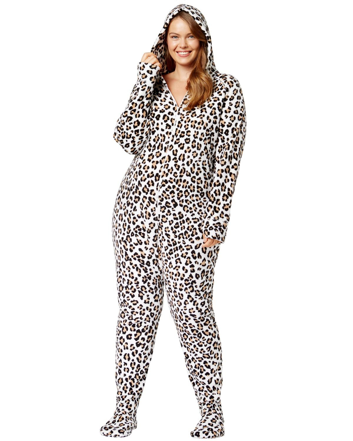 Jenni by Jennifer Moore Plus Size Hooded Printed Footed Jumpsuit 2X Leopard