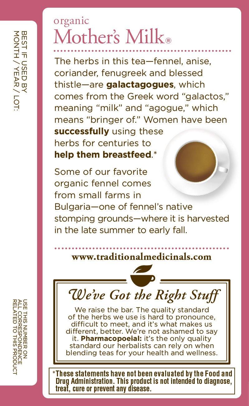 Traditional Medicinals Organic Mothers Milk Tea, 16 Tea Bags (Pack of 6): Amazon.es: Alimentación y bebidas