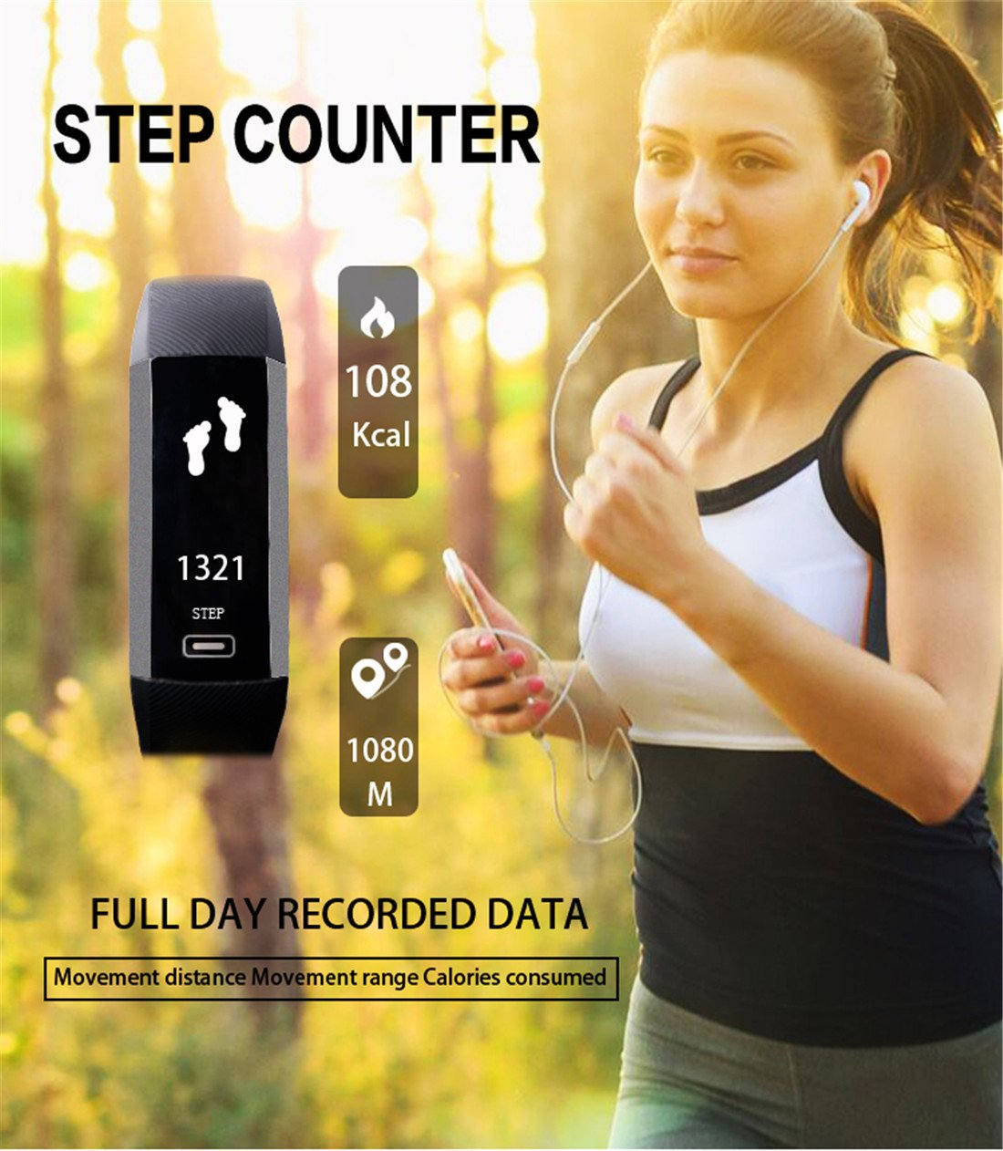 Smart Watch Fitness Tracker Read R5.PRO Heart Rate Monitor Blood Pressure Bracelet Pedometer Activity Tracker Sleep Monitoring Call SMS SNS Remind Watch for Android iOS (Black)