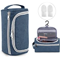 2-Piece Travel AIRSSON Toiletry Makeup Organizer Hanging Wash Bag (Blue/Black/Gray)