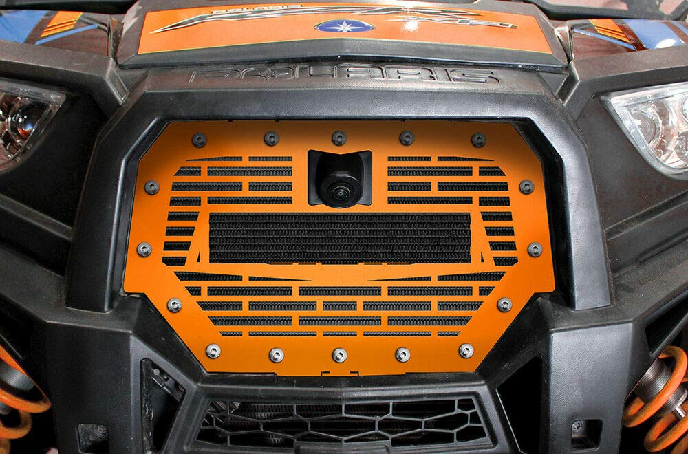 300 Industries Steel Grille with LED Light Bar Replacement for Polaris RZR 1000 XP Ride Command 2017-2018 Bricks Single Piece Powder Coated Spectra Orange