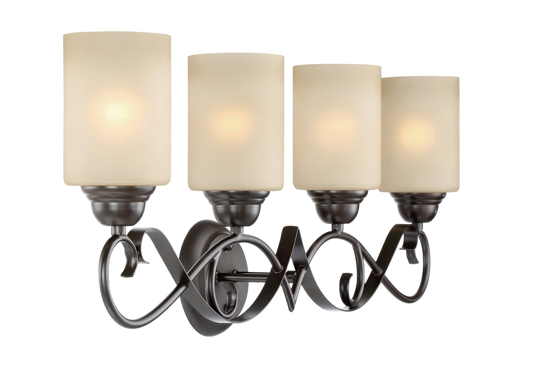 Kira Home Villa 31'' Traditional 4-Light Vanity/Bathroom Light + Amber Glass Shades, Oil Rubbed Bronze Finish by Kira Home