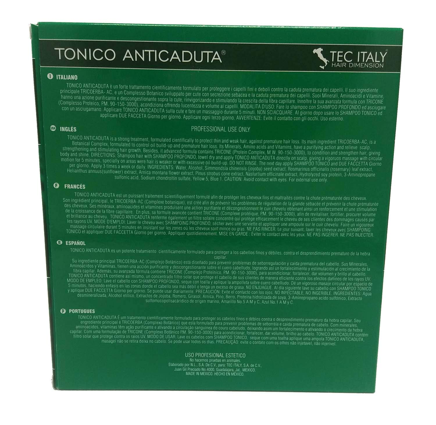 Tec Italy Hair Therapy Tonico AntiCaduta 12 Ampolletas de - 10 ml/0.33 oz