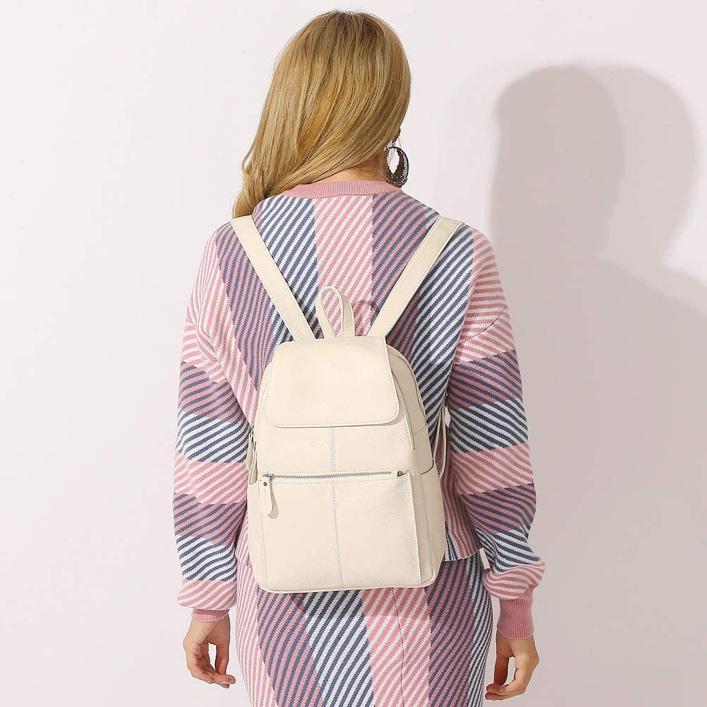 15 Colors Real Soft Leather Women Backpack Fashion Ladies Travel Bag Preppy Style Schoolbags For Girls (Pure White)