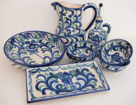 8 piece Hand Painted Spanish Tableware set  sc 1 st  Amazon UK & 8 piece Hand Painted Spanish Tableware set: Amazon.co.uk: Kitchen u0026 Home