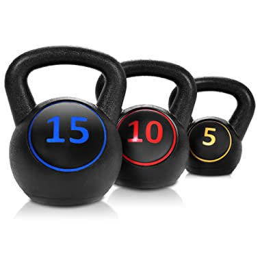Giantex 3-Piece Kettlebell Weights Set, Weight Available 5,10,15 lbs, HDPE Kettlebell for Strength and Conditioning, Fitness and Cross-Training, Black