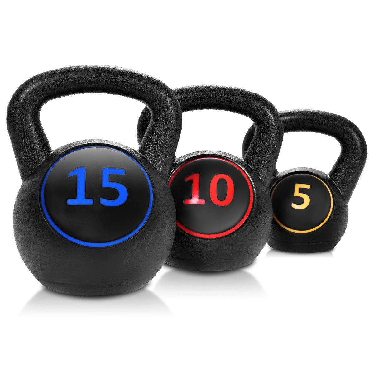 Giantex Home Gym 3 Pcs Vinyl Kettlebell Kit Body Muscles Training Weights 5 10 15lbs Set by Giantex