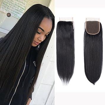 Brazilian Virgin Human Hair Lace Closure Straight 4x4 Free Part Silky  Straight Human Hair Top Lace