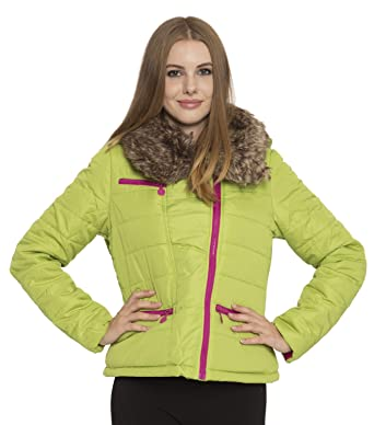 1d5eb1c22 dollhouse Juniors Removable Faux Fur Collar and Hood Puffer Moto Jacket -  Green Apple (Large)