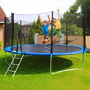 Kids Adults Trampoline with Enclosure Net, 12 FT Fitness Trampoline Trainer, Indoor/Garden Trampoline, Max 442lbs, Sprinkler & Basketball Board Can Be Installed