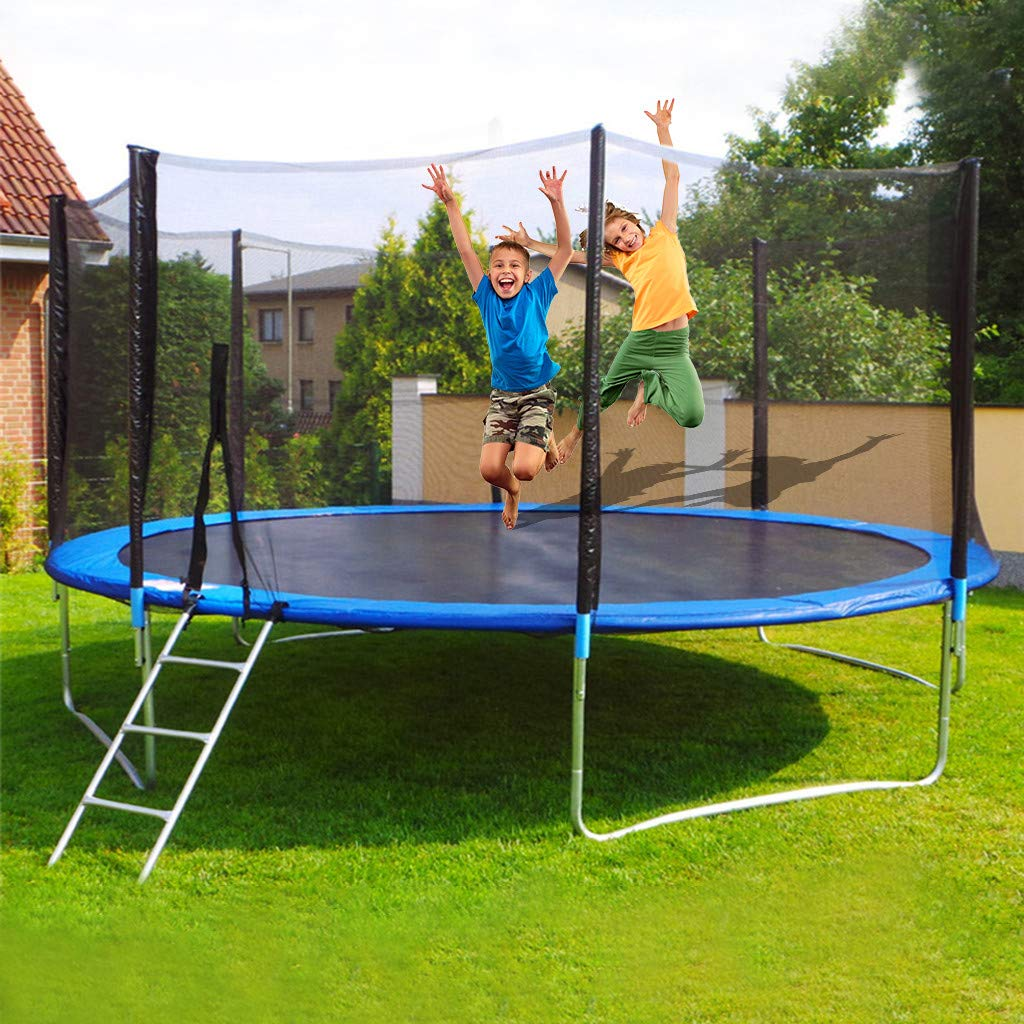 Viouyh Trampoline with Safety Enclosure for Kids, 12 Ft Jumping Mat and Spring Cover Padding Tent with Ladder, Children Backyard Game