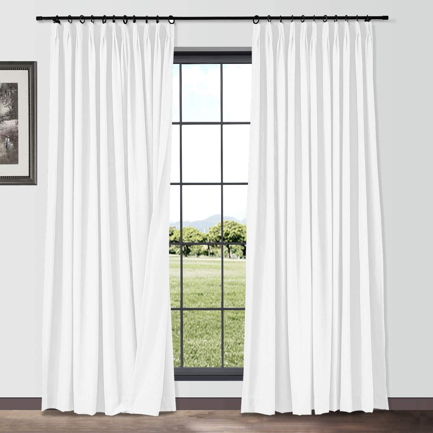 TWOPAGES Cotton Linen Curtain Drapery Extra 150 Widt security Inches Max 48% OFF Wide