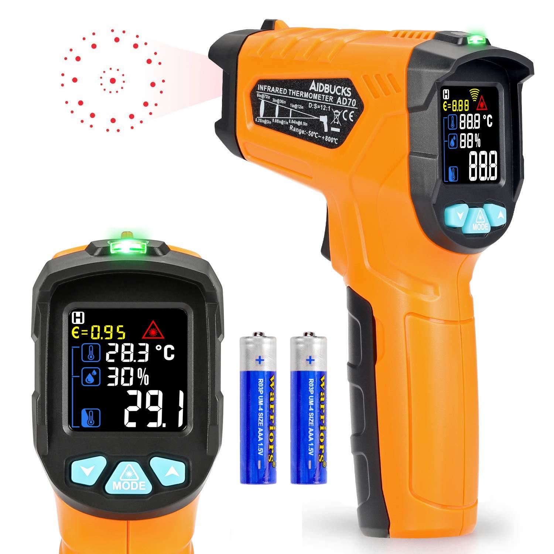 Termómetro de infrarrojos -58 ° F ~ 1472 ° F Digital láser sin contacto infrarrojos pistola de temperatura pantalla a color 12 Punto apertura función de alarma de temperatura