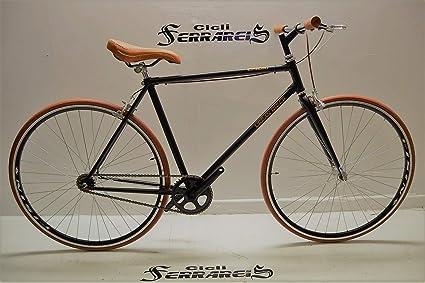 Fixed 28 Bici Single Speed Bicicletta Scatto Fisso Nero Marrone