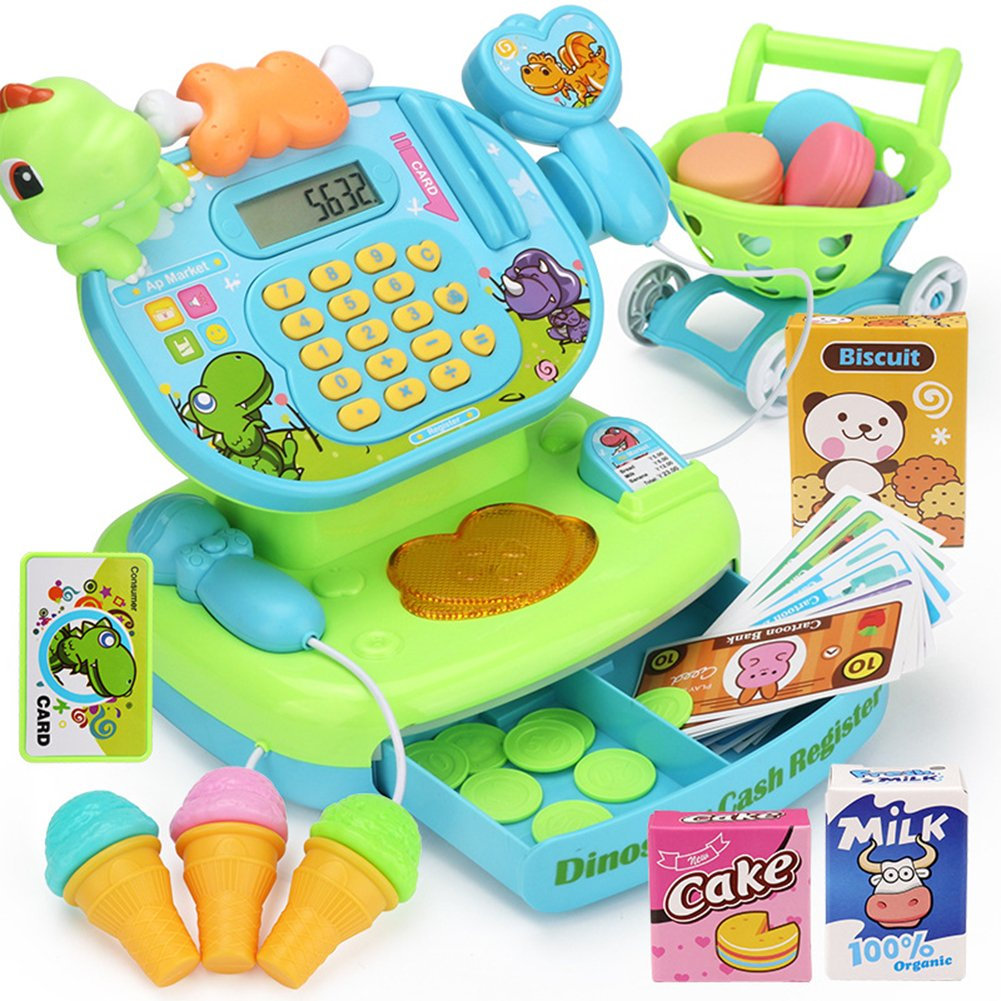 Studyset Simulation Multi-Functional Cash Register Toy Educational Pretend Play Operated Toy Working Calculator Set (Green Dinosaur)