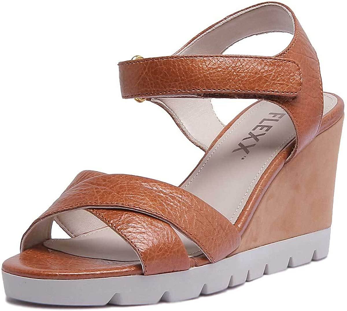 The FLEXX Lot Off Hook and Loop Ankle Strap Leather Wedge Sandal