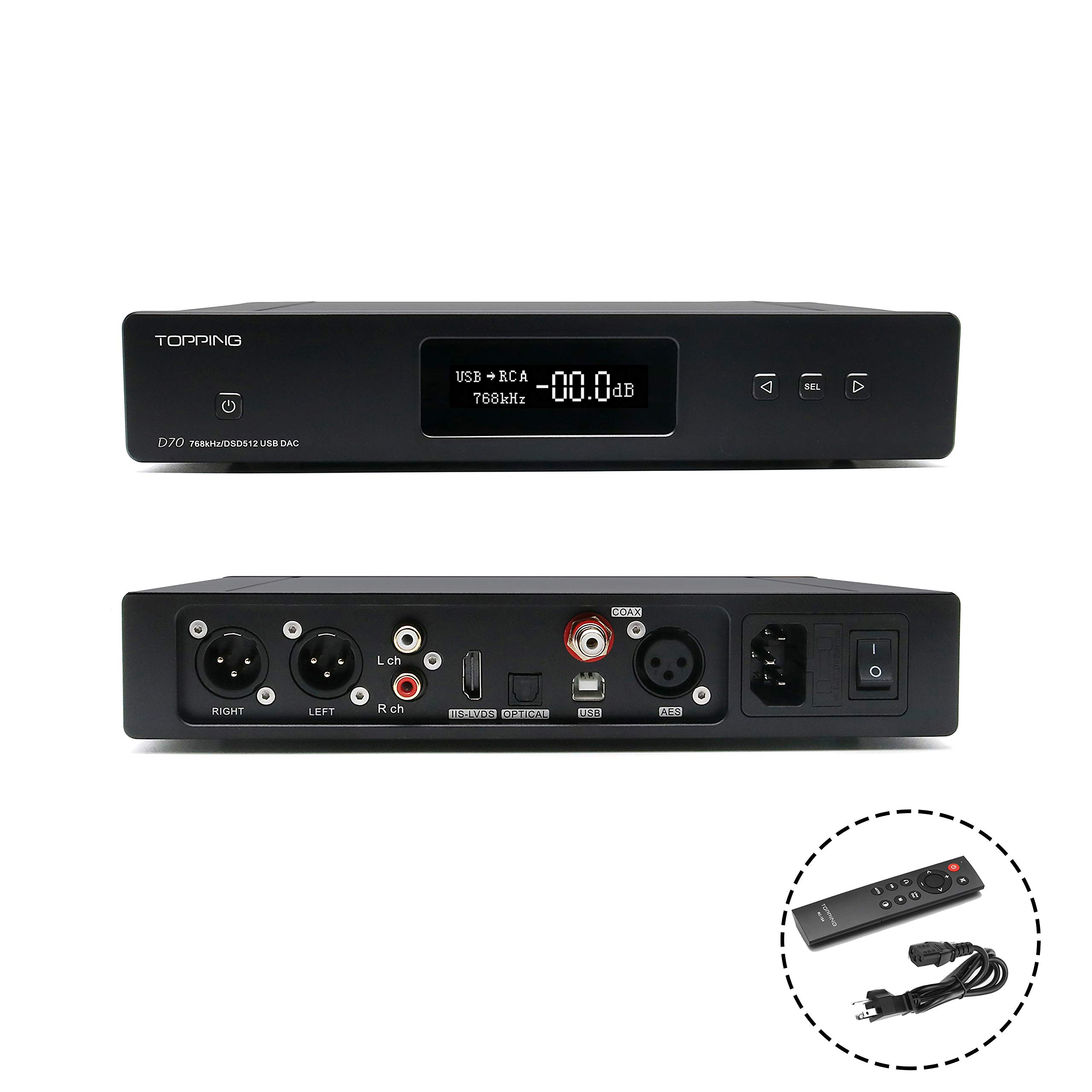 Topping D70 HiFi Balanced DAC XMOS XU208 AK4497 OPA1612 DSD512 32Bit/768KHz USB/Optical/Coaxial/AES/IIS Audio Decoder with Remote Control(Black) by Topping