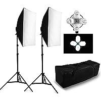 BPS 8 lampadine 5500K softbox Kit di Illuminazione Continua per Studio Fotografico - 8 lampadine 38W la Luce del Giorno Lo Rende Leggero più Uniforme Una Base della Lampada 4 in 1