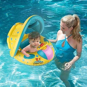 Bebé anillo de natación Anillo inflable, persiana piscina flotador barco asiento bebé Niños Serie, Amarillo: Amazon.es: Deportes y aire libre